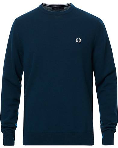 Fred Perry Classic Crew Neck Jumper Petrol Blue
