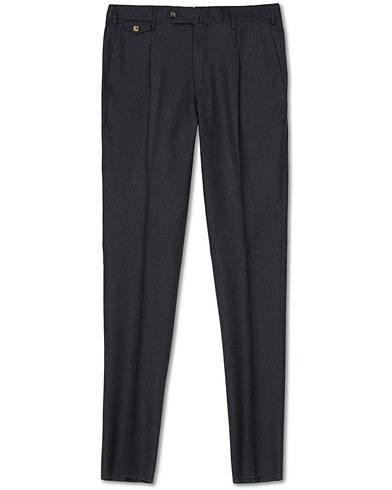 PT01 Gentleman Fit Pleated Flannel Trousers Grey Melange