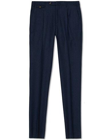 PT01 Gentleman Fit Pleated Flannel Trousers Dark Blue