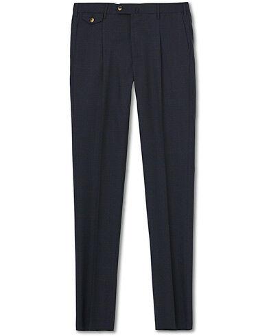 PT01 Gentleman Fit Overcheck Wool Trousers Navy