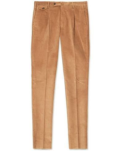 PT01 Gentleman Fit Pleated Corduroy Trousers Khaki