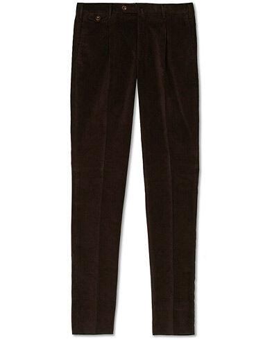PT01 Gentleman Fit Pleated Corduroy Trousers Dark Brown