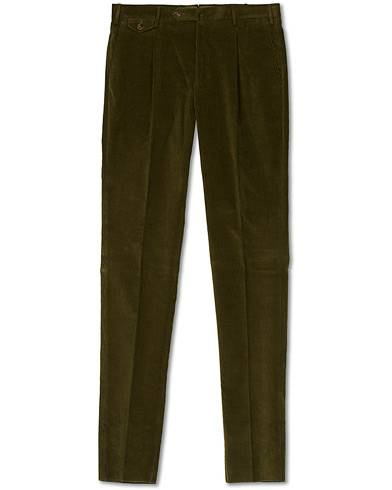 PT01 Gentleman Fit Pleated Corduroy Trousers Army Green