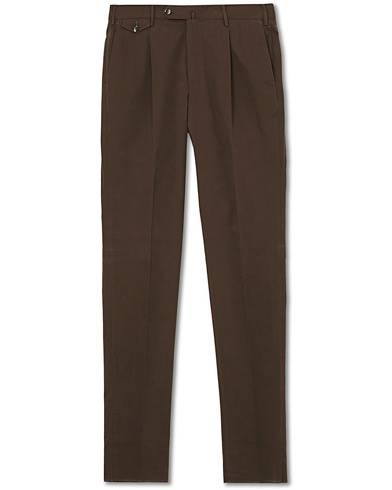 PT01 Gentleman Fit Pleated Cotton Trousers Brown