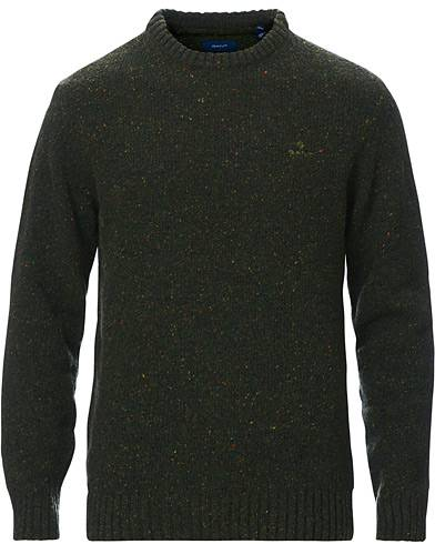 Gant Neps Donegal Knitted Crew Neck Sweater Tartan Green