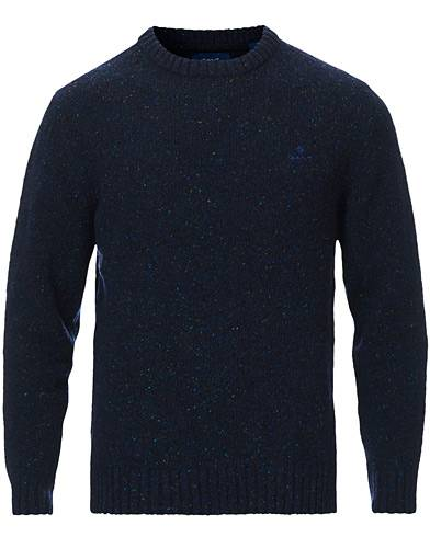 Gant Neps Donegal Knitted Crew Neck Sweater Evening Blue