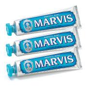 Marvis Aquatic Mint Toothpaste Bundle -hammastahnasetti (3x85ml)