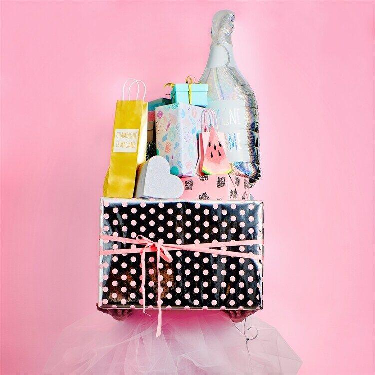 KALAS gift wrap, silver/pink