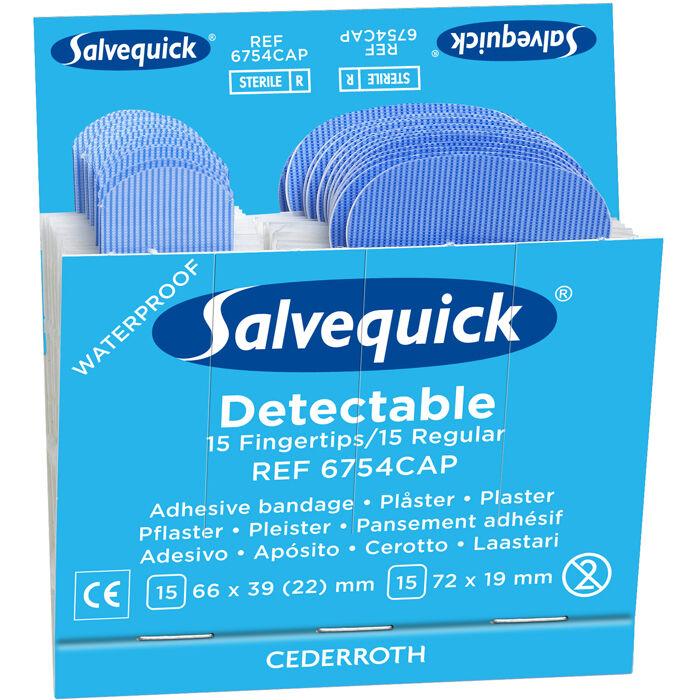 Salvequick 6754CAP Blue Detectable -laastari 6x30st