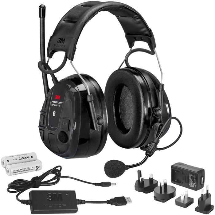 3M Peltor WS Alert XP Kuulonsuojain Bluetooth päälakisangalla, latauspaketin