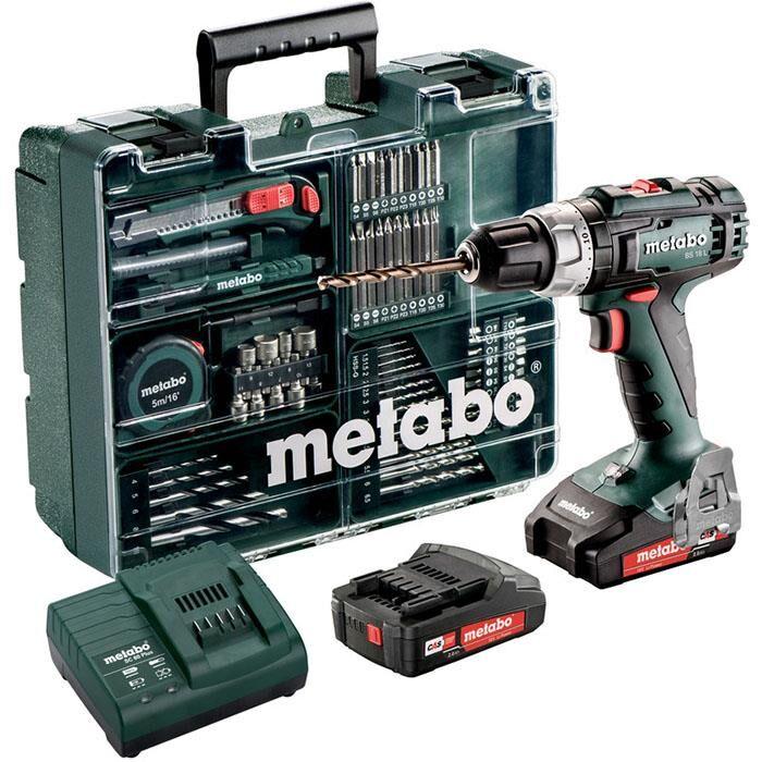 Metabo BS 18 L SET Pora/ruuvinväännin mukana 2,0 Ah:n akut, laturi ja tarvikkeita