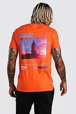 Boohoo NASA Rocket Front & Back Print License T-Shirt