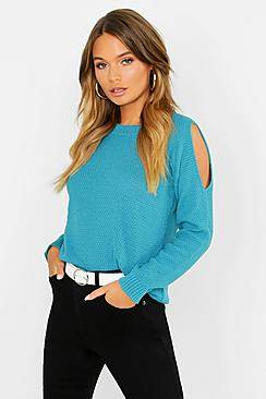 Boohoo Cold Shoulder Moss Stitch Jumper  - teal - Size: Small