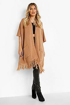 Boohoo Tassel Hem Cape Cardigan  - camel - Size: One Size