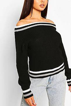 Boohoo Off The Shoulder Stripe Crop Jumper
