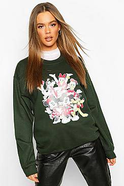 Boohoo Disney Mickey and Friends Xmas Sweat  - green - Size: Medium