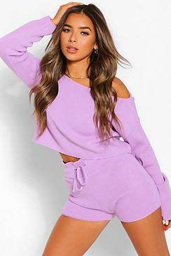 Boohoo Petite Knitted Slash Neck Short Co-Ord  - lilac - Size: Small