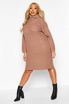 Image of boohoo Plus Fisherman Rib Jumper Dress  - taupe - Size: 44