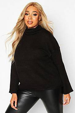 Image of boohoo Plus Roll Neck Drop Shoulder Jumper