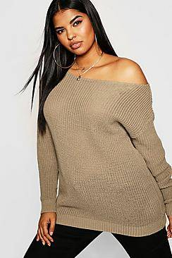 Image of boohoo Plus Slash Neck Fisherman Jumper  - taupe - Size: 50