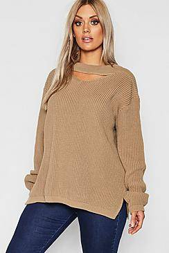 Image of boohoo Plus Choker Side Split Jumper  - taupe - Size: 50