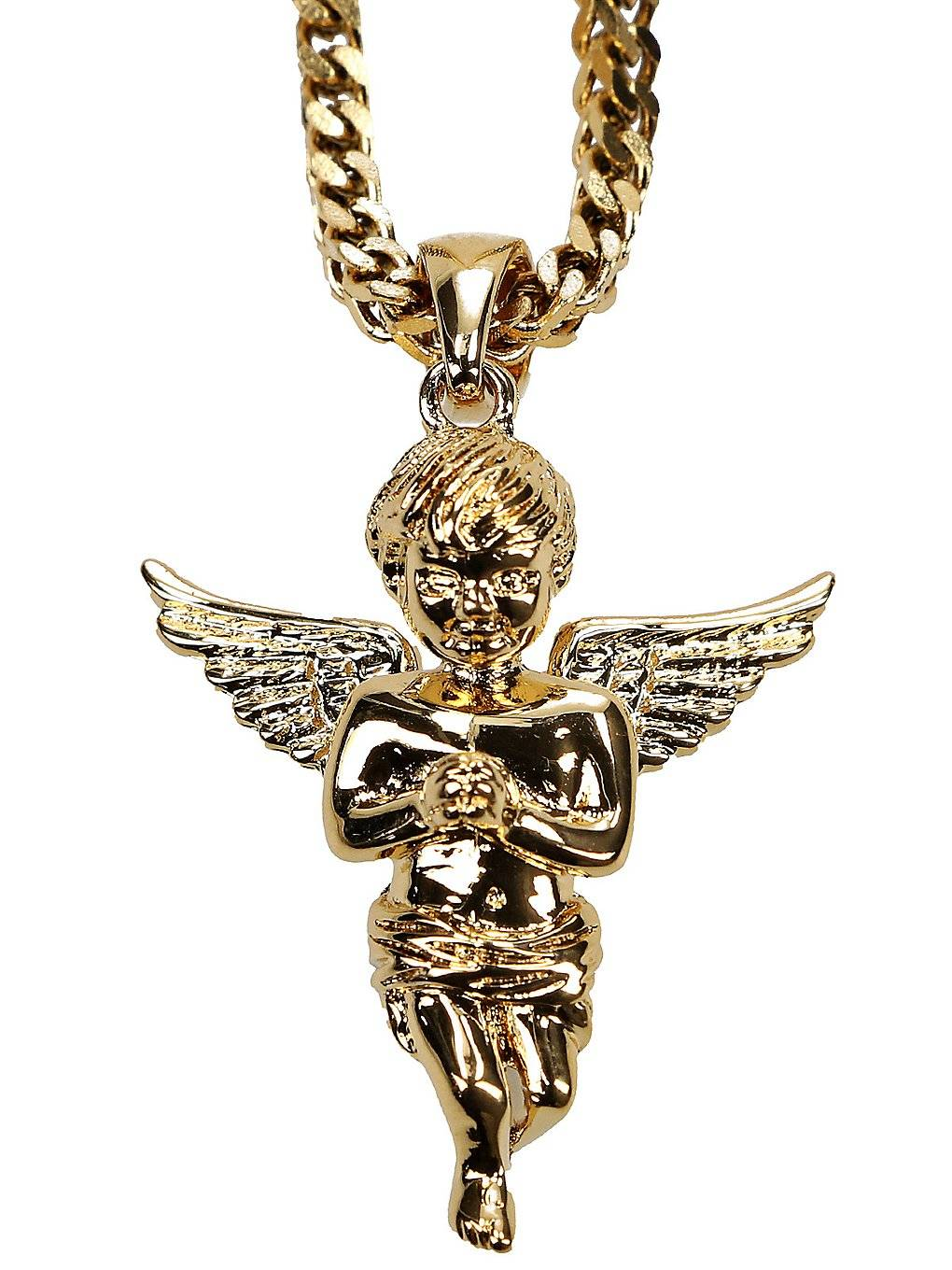 The Gold Gods Franco Wheat Chain Micro Angel Necklace keltainen