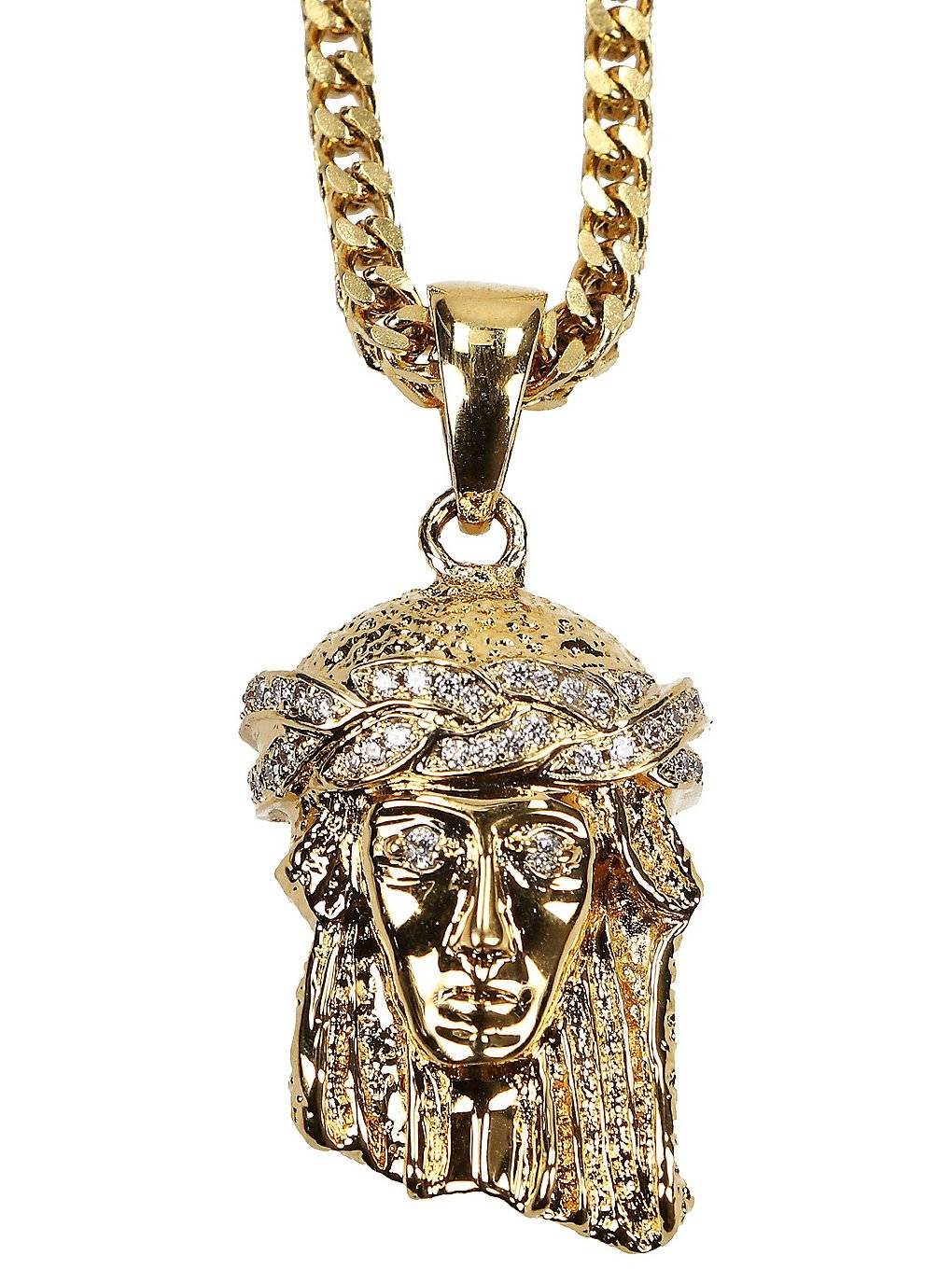 The Gold Gods Franco Chain Micro Jesus Necklace keltainen