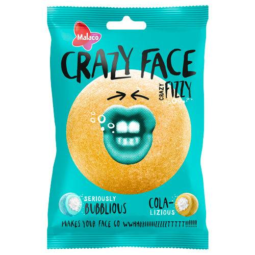 Maxikarkki Makeispussit Malaco Crazy Face Fizzy (80g)