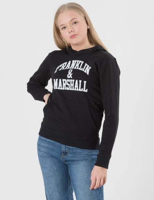 Marshall Franklin & Marshall, F and M Hoodie, Musta, Hupparit till Pojat, 10-11 vuotta