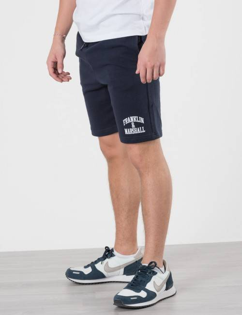 Marshall Franklin & Marshall, Badge Logo Sweat Shorts, Sininen, Shortsit till Pojat, 14-15 vuotta