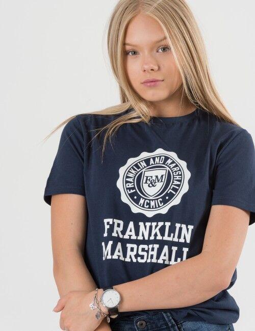 Marshall Franklin & Marshall, F and M Logo Tee, Sininen, T-PAIDAT/PAIDAT till Tytöt, 8-9 vuotta
