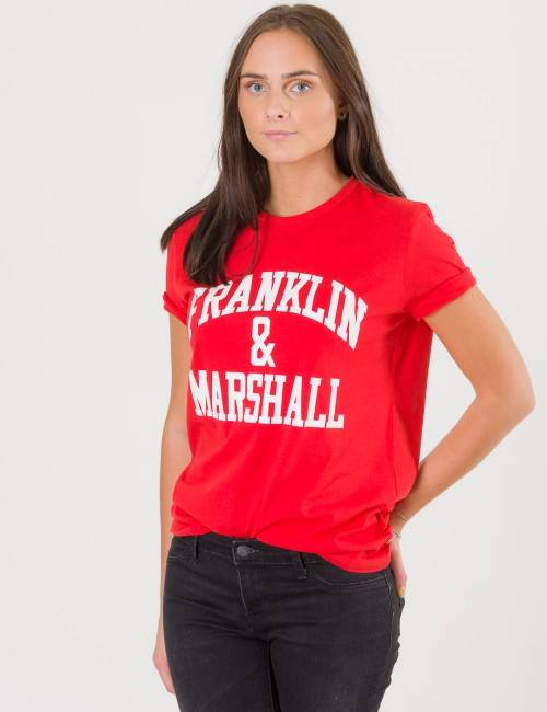Marshall Franklin & Marshall, F and M CF Logo Tee, Punainen, T-PAIDAT/PAIDAT till Tytöt, 12-13 vuotta