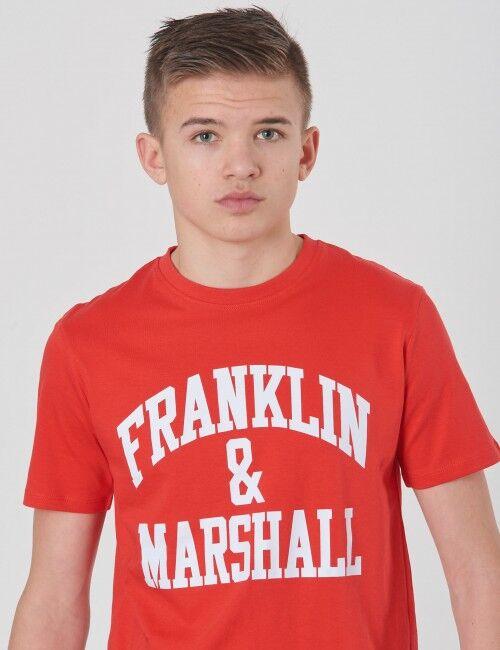 Marshall Franklin & Marshall, F & M CF Logo Tee, Punainen, T-PAIDAT/PAIDAT till Pojat, 10-11 vuotta