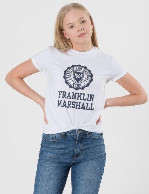 Marshall Franklin & Marshall, F and M Logo Tee, Valkoinen, T-PAIDAT/PAIDAT till Tytöt, 8-9 vuotta