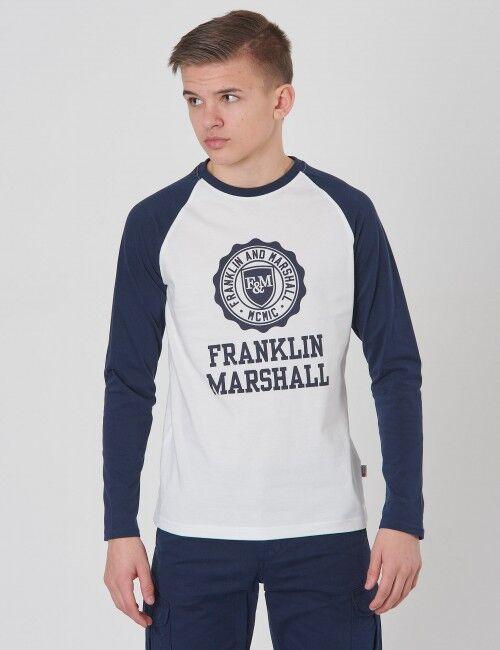 Marshall Franklin & Marshall, Crest Raglan Layer, Valkoinen, T-PAIDAT/PAIDAT till Pojat, 12-13 vuotta