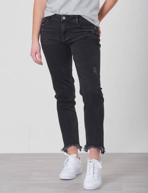Grunt, Relaxed Cropped Black Stone Jeans, Harmaa, Farkut till Tytöt, 15 år