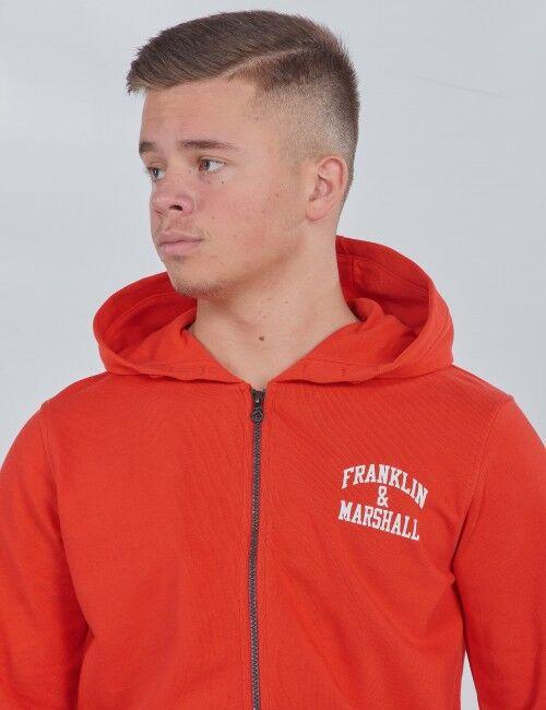 Marshall Franklin & Marshall, Badge Logo Zip Hoodie, Punainen, Hupparit till Pojat, 10-11 vuotta