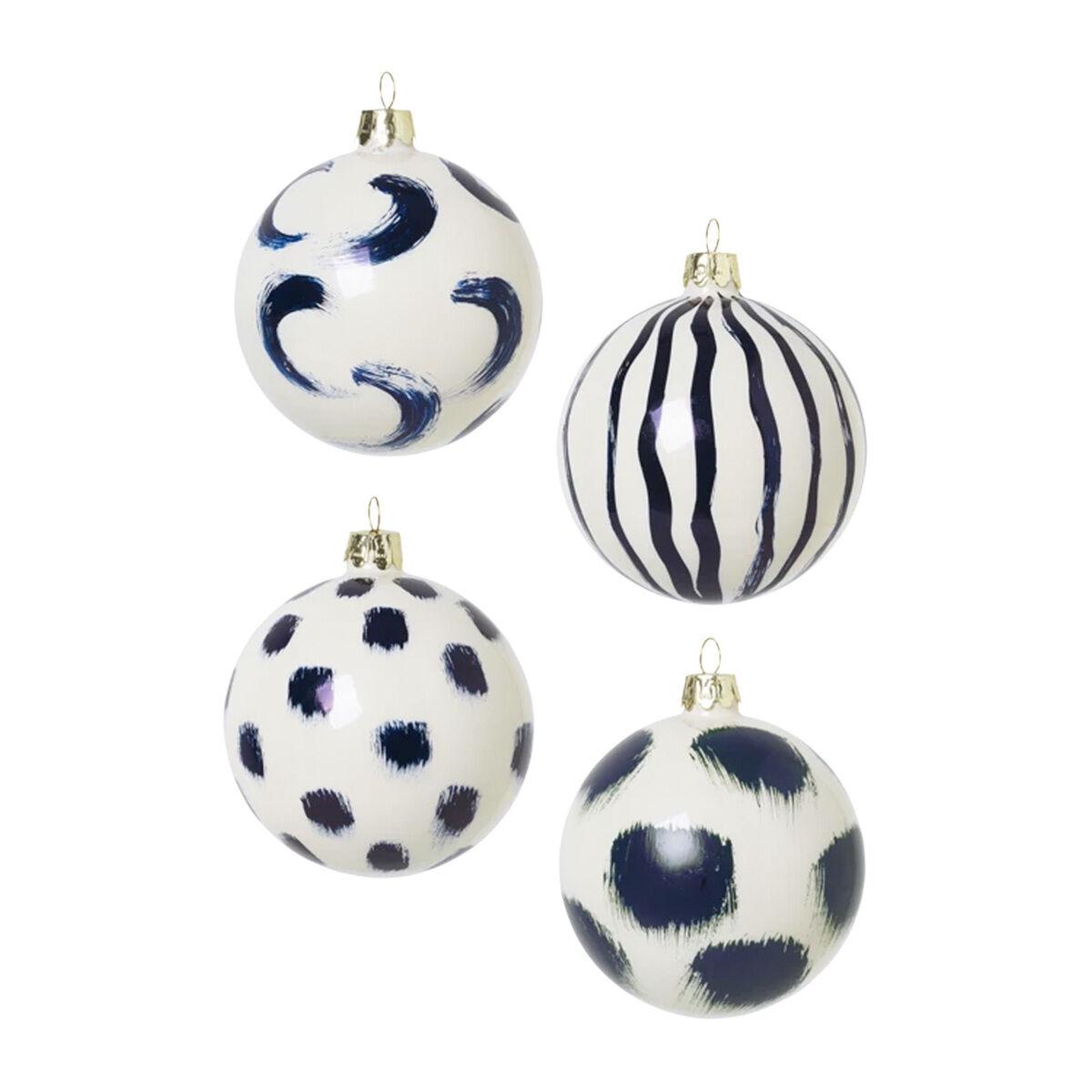 Ferm Living Lasinen joulukoriste, 4 kpl, sininen