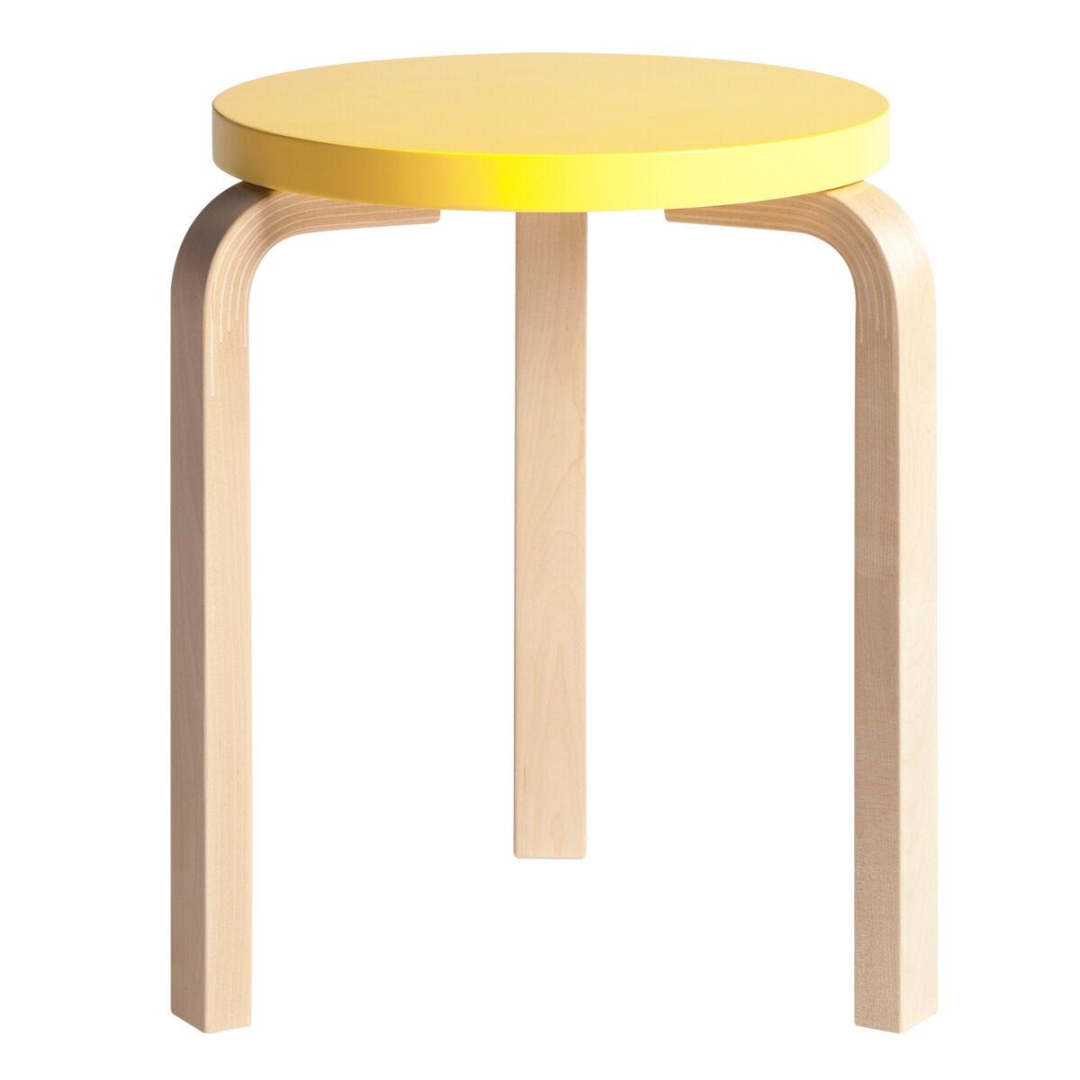 Artek Aalto jakkara 60, keltainen - koivu