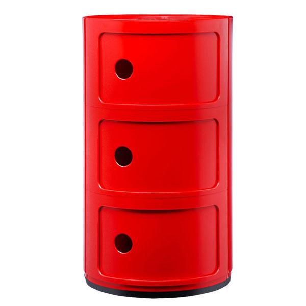 Kartell Componibili s�ilytyskaluste, 3-osainen, punainen