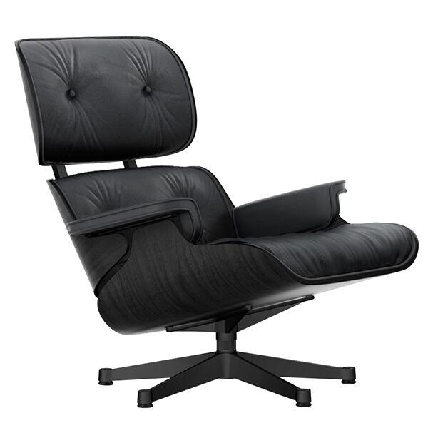 Vitra Eames Lounge Chair, uusi koko, musta saarni - musta nahka