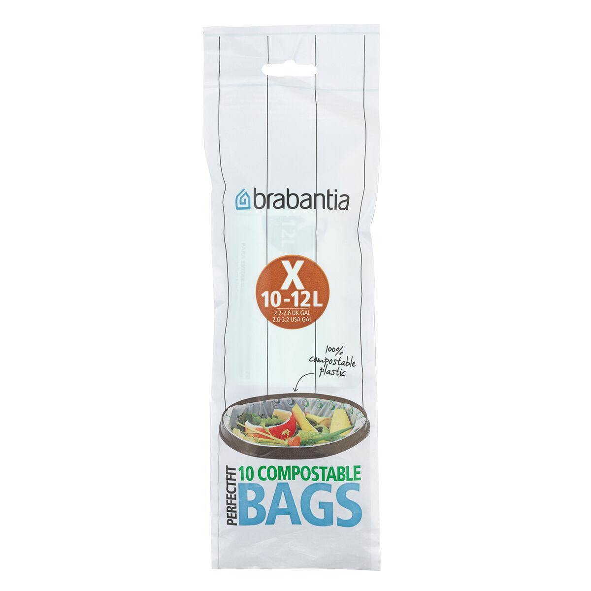 Brabantia PerfectFit biohajoavat roskapussit 10-12 L, 10 kpl,  X, vihreä