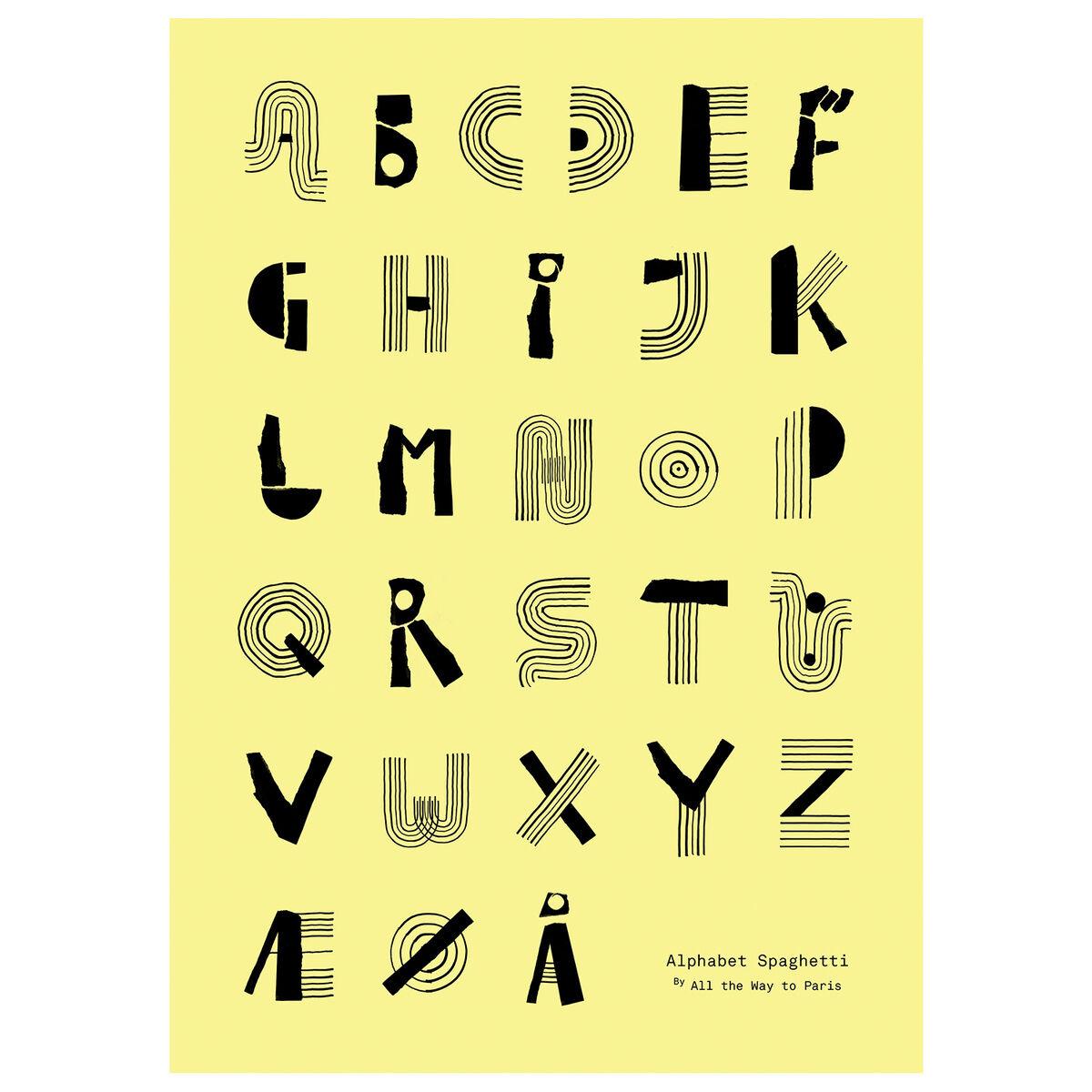 MADO Alphabet spaghetti juliste, 50 x 70 cm, keltainen