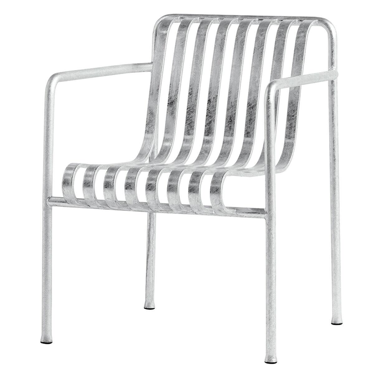 Hay Palissade käsinojallinen ruokapöydän tuoli, galvanoitu