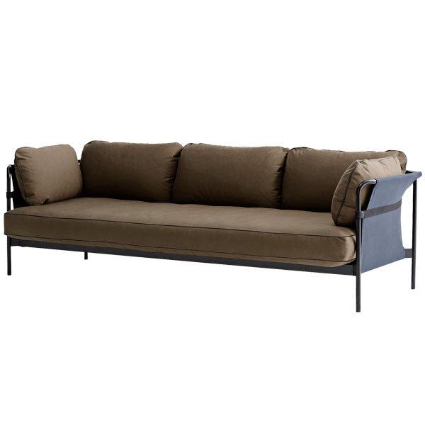 Hay Can sohva 3-istuttava, musta-sininen runko, Army Canvas