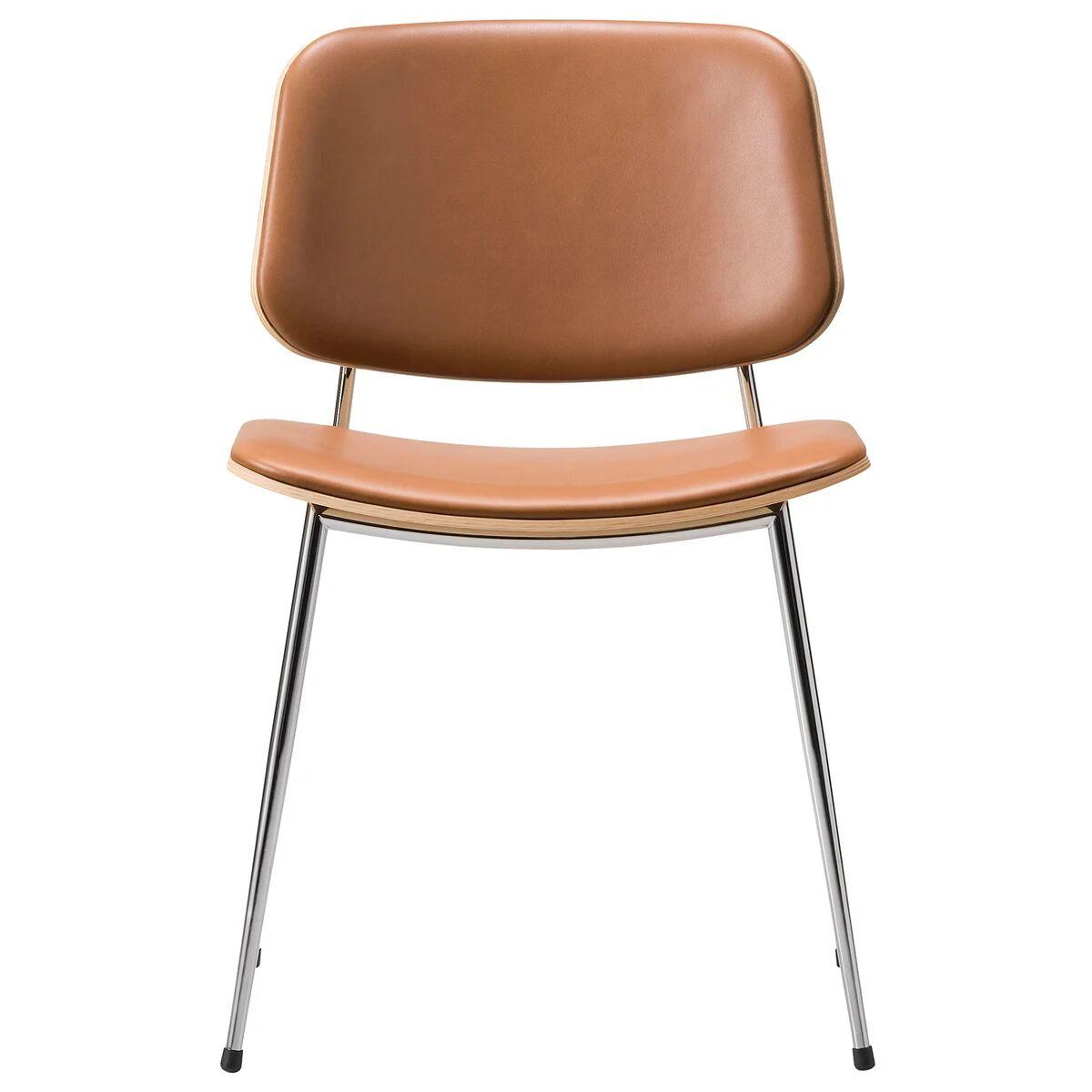 Fredericia Søborg tuoli 3062, kromattu runko, lakattu tammi - ruskea nahka