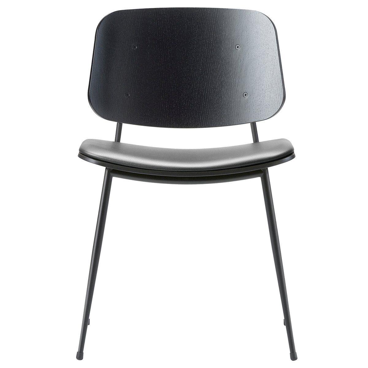 Fredericia S�borg tuoli 3061, musta ter�srunko, musta tammi - musta nahka