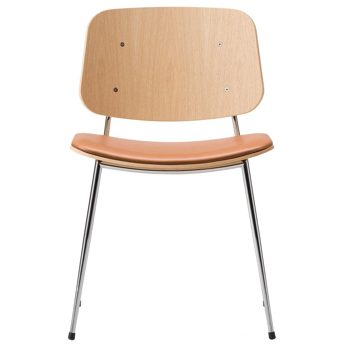 Fredericia S�borg tuoli 3061, kromattu runko, lakattu tammi - ruskea nahka
