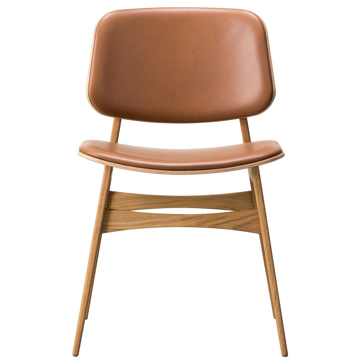 Fredericia S�borg tuoli 3052, puurunko, lakattu tammi - ruskea nahka