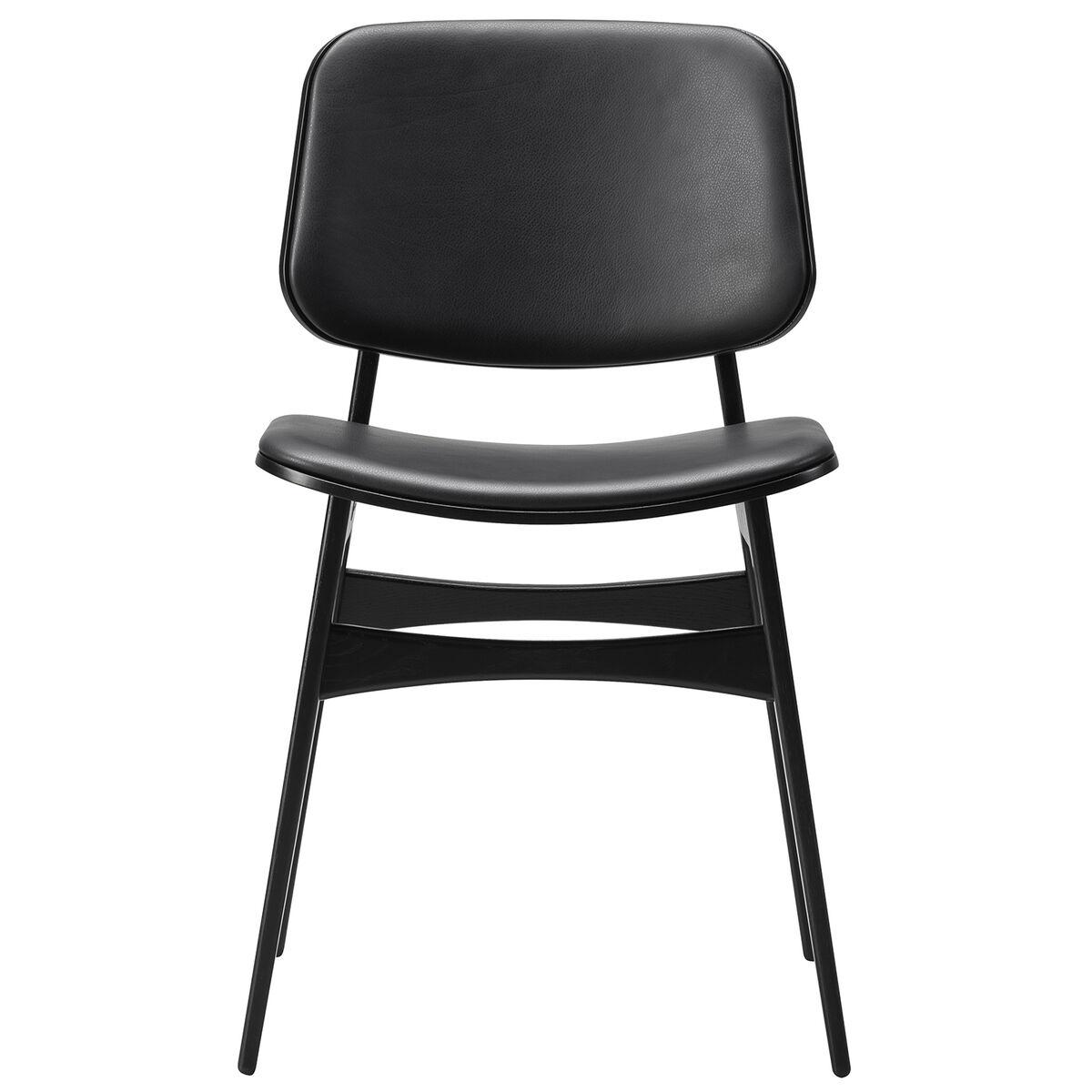 Fredericia S�borg tuoli 3052, puurunko, musta tammi - musta nahka